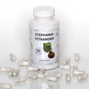 biały słoik, z biała nakrętką, z etykietą ze zdjęciem korzenia i seledynowym napisem stephania tetrandra